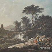 Shepherds Resting By A Stream Poster