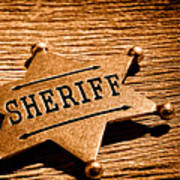 Sheriff Badge - Sepia Poster