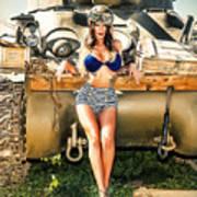 Sherman Tank Pin-up Poster