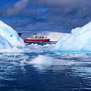 Ship In Between Icebergs Poster