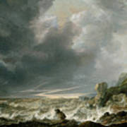 Ship In Distress Off A Rocky Coast Poster