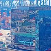 Shipping Containers And Building Windows Reflecting Graffiti  Art Of Valparaiso-chile Poster
