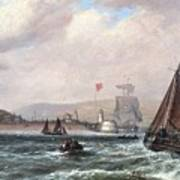 Shipping Off Newhaven Harbour Poster