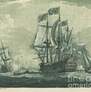 Shipping Scene With Man-of-war Poster