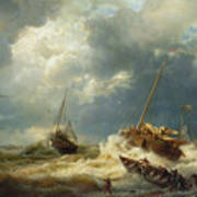 Ships In A Storm On The Dutch Coast Poster