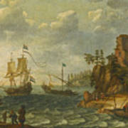 Ships Moored Off A Rocky Coastline With Fishermen Unloading Their Catch Poster