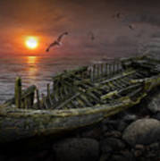 Shipwreck At Sunset Poster