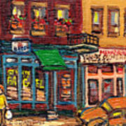 St Viateur Bagel Shop And Mehadrins Kosher Deli Best Original Montreal Jewish Landmark Painting  Poster