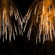 Shower Of Orange Colors Using Pyrotechnics Firework Poster