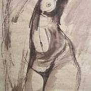 Showing Figure - Sketch Of A Female Nude Poster