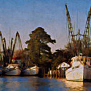 Shrimp Boat Fleet Georgetown Sc Poster