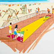 Retro Shuffleboard Art From The 1960's Poster