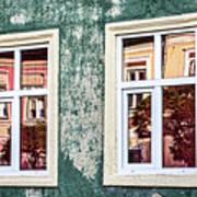 Sibiu Window Reflections - Romania Poster