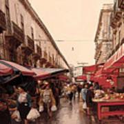 Sicilian Market After The Rain Poster
