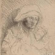 Sick Woman With A Large White Headdress (saskia) Poster