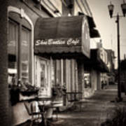 Sidewalk At Shoebooties Cafe In Black And White Poster