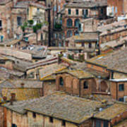 Siena Colored Roofs And Walls In Aerial View Poster