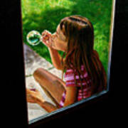 Sierra Blowing Bubbles Poster