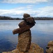 Silent Watch - Inukshuk On Boulder At Long Lake Hiking Trail Poster