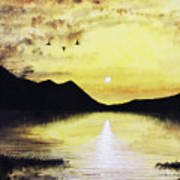 Silhouette Lagoon Poster