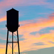 Silhouette Of Small Town Water Tower Poster