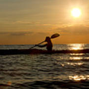 Silhouette Of Woman Kayaking In The Ocean. Poster