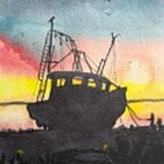 Grounded Shrimp Boat Poster