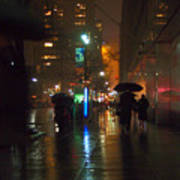 Silhouettes In The Rain - Umbrellas On 42nd Poster