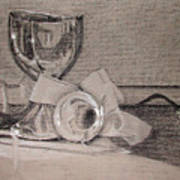 Silver And Glass Still Life Poster by Rebecca Tacosa Gray