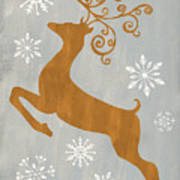 Silver Gold Reindeer Poster