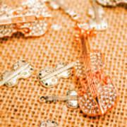 Silver Violin Pendant With Diamonds Poster