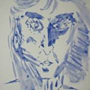 Simple Portrait In Blue.water Color 1999 Poster