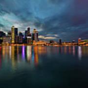 Singapore City Skyline At Evening Twilight Poster