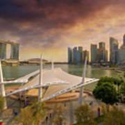 Singapore City Skyline By Marina Bay Sunset Poster