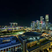 Singapore Modern Skyline By The River At Night Poster
