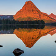 Sinopah Mountain Reflected In Two Medicine Lake At Sunrise Poster