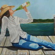 Sippin' On The Dock Of The Bay Poster by Patricia DeHart