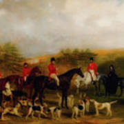 Sir Edmund Antrobus And The Old Surrey Fox Hounds At The Foot Of Poster