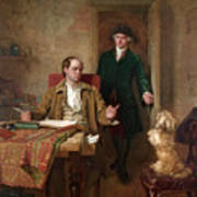 Sir Joshua Reynolds Visiting Goldsmith In His Study Poster
