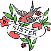 Sister Tattoo Design Poster