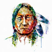 Sitting Bull Watercolor Painting Poster