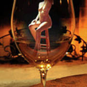 Sitting Nude In Glass Poster