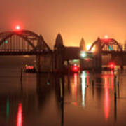 Siuslaw River Bridge At Night Poster