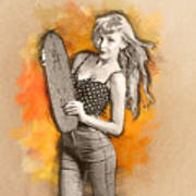 Skateboard Pin-up Illustration Poster
