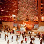 Skating At Rockefeller Plaza Poster