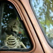 Skeleton Behind The Wheel Of Chevy Truck Poster
