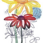 Sketchbook Flowers Thank You- Art By Linda Woods Poster