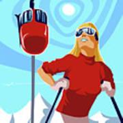 Ski Bunny Retro Ski Poster Poster