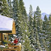 Skiers On Balcony Of Ski Lodge Prepare Poster