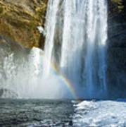 Skogafoss Waterfall Iceland In Winter Poster